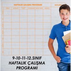9-10-11-12.SINIF HAFTALIK DERS ÇALIŞMA PROGRAMI