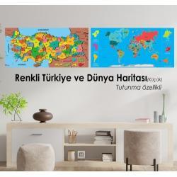 Renkli  Türkiye ve Dünya Haritası SET